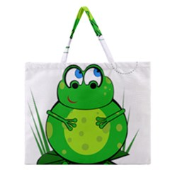 Green Frog Zipper Large Tote Bag by Valentinaart