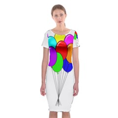 Colorful Balloons Classic Short Sleeve Midi Dress by Valentinaart