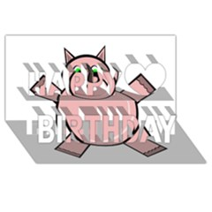 Pink Rhino Happy Birthday 3d Greeting Card (8x4)  by Valentinaart