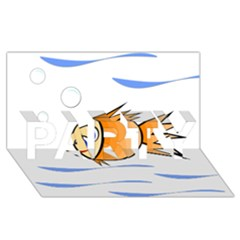 Cute Fish Party 3d Greeting Card (8x4)  by Valentinaart