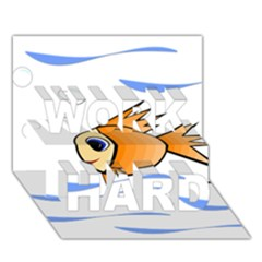 Cute Fish Work Hard 3d Greeting Card (7x5)  by Valentinaart