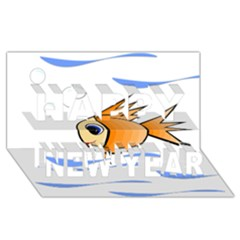 Cute Fish Happy New Year 3d Greeting Card (8x4)  by Valentinaart