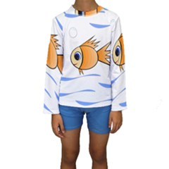 Cute Fish Kid s Long Sleeve Swimwear by Valentinaart