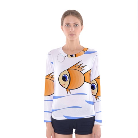 Cute Fish Women s Long Sleeve Tee by Valentinaart