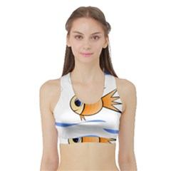 Cute Fish Sports Bra With Border by Valentinaart
