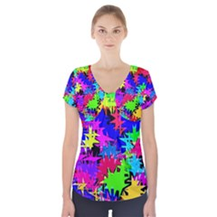 Colorful Shapes              Short Sleeve Front Detail Top by LalyLauraFLM
