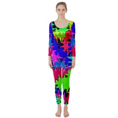 Colorful Shapes                                                                              Long Sleeve Catsuit by LalyLauraFLM