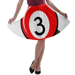 Billiard Ball Number 3 A-line Skater Skirt by Valentinaart