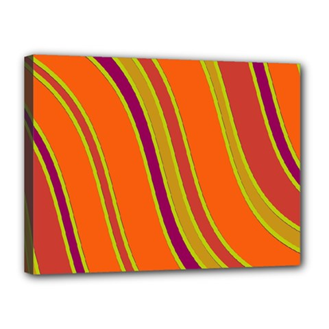 Orange Lines Canvas 16  X 12  by Valentinaart