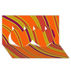 Orange Lines Twin Hearts 3d Greeting Card (8x4)  by Valentinaart