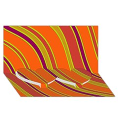 Orange Lines Twin Heart Bottom 3d Greeting Card (8x4)  by Valentinaart