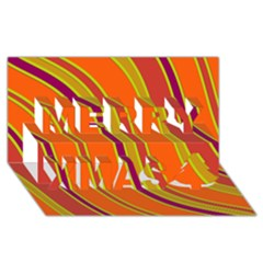 Orange Lines Merry Xmas 3d Greeting Card (8x4)  by Valentinaart
