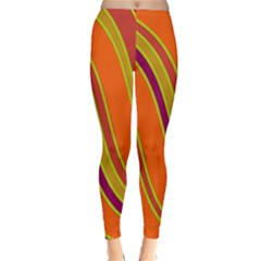 Orange Lines Winter Leggings  by Valentinaart
