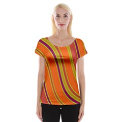 Orange Lines Women s Cap Sleeve Top by Valentinaart
