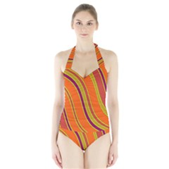 Orange Lines Halter Swimsuit by Valentinaart