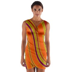 Orange Lines Wrap Front Bodycon Dress by Valentinaart