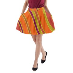 Orange Lines A-line Pocket Skirt by Valentinaart