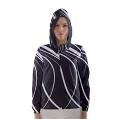 Black And White Elegant Design Hooded Wind Breaker (women) by Valentinaart