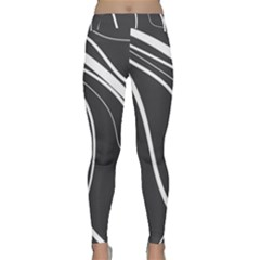 Black And White Elegant Design Yoga Leggings by Valentinaart