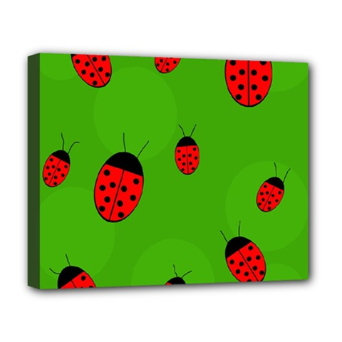 Ladybugs Deluxe Canvas 20  X 16   by Valentinaart