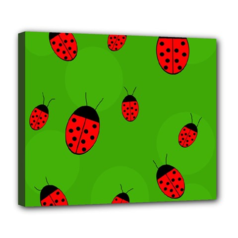 Ladybugs Deluxe Canvas 24  X 20   by Valentinaart