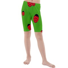 Ladybugs Kid s Mid Length Swim Shorts by Valentinaart
