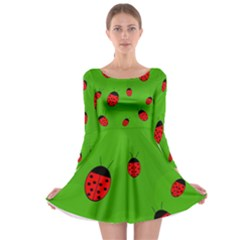 Ladybugs Long Sleeve Skater Dress by Valentinaart