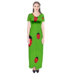 Ladybugs Short Sleeve Maxi Dress by Valentinaart