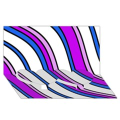 Purple Lines Twin Heart Bottom 3d Greeting Card (8x4)  by Valentinaart