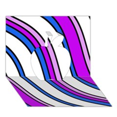 Purple Lines Apple 3d Greeting Card (7x5)  by Valentinaart