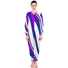 Purple Lines Onepiece Jumpsuit (ladies)  by Valentinaart