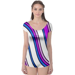 Purple Lines Boyleg Leotard  by Valentinaart