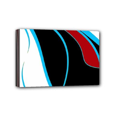 Blue, Red, Black And White Design Mini Canvas 6  X 4  by Valentinaart