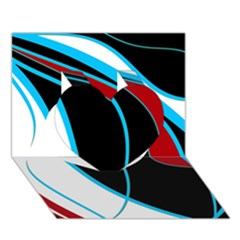 Blue, Red, Black And White Design Heart 3d Greeting Card (7x5)