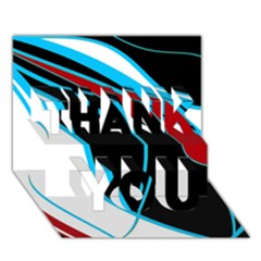 Blue, Red, Black And White Design Thank You 3d Greeting Card (7x5)  by Valentinaart