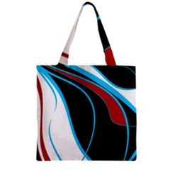 Blue, Red, Black And White Design Grocery Tote Bag by Valentinaart
