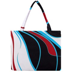 Blue, Red, Black And White Design Mini Tote Bag by Valentinaart