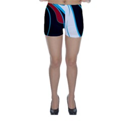 Blue, Red, Black And White Design Skinny Shorts by Valentinaart