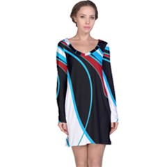 Blue, Red, Black And White Design Long Sleeve Nightdress by Valentinaart