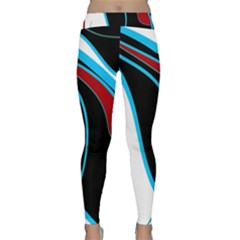Blue, Red, Black And White Design Yoga Leggings by Valentinaart
