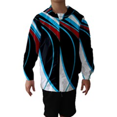Blue, Red, Black And White Design Hooded Wind Breaker (kids) by Valentinaart