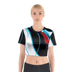 Blue, Red, Black And White Design Cotton Crop Top by Valentinaart