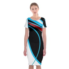 Blue, Red, Black And White Design Classic Short Sleeve Midi Dress by Valentinaart