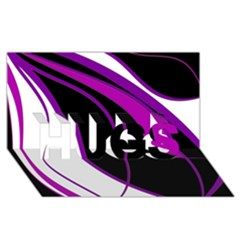 Purple Elegant Lines Hugs 3d Greeting Card (8x4)  by Valentinaart