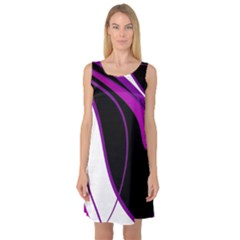 Purple Elegant Lines Sleeveless Satin Nightdress by Valentinaart