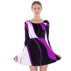 Purple Elegant Lines Long Sleeve Velvet Skater Dress by Valentinaart