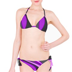 Purple Elegant Lines Bikini Set by Valentinaart
