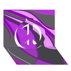 Purple Elegant Lines Peace Sign 3d Greeting Card (7x5)  by Valentinaart