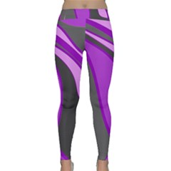 Purple Elegant Lines Yoga Leggings by Valentinaart