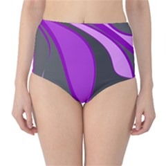 Purple Elegant Lines High-waist Bikini Bottoms by Valentinaart